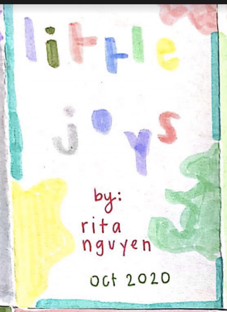 cover of Little Joys zine: title with each lowercase letter in a different color, yellow, green, and red blobs in the corners