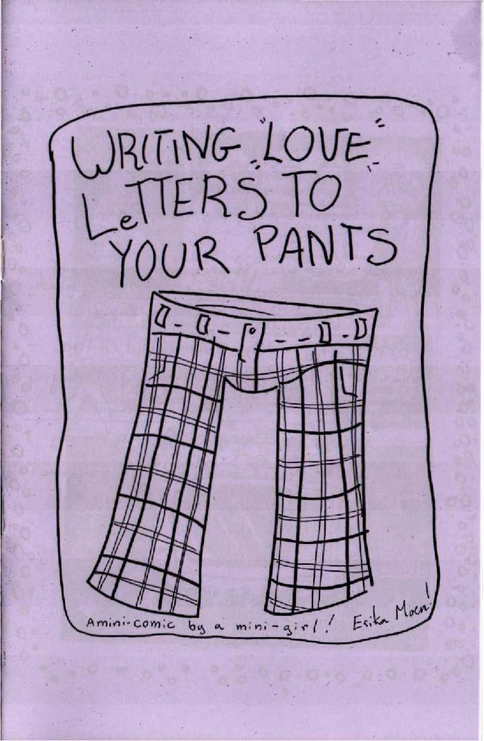 zine cover: lavender, drawing of plaid pants