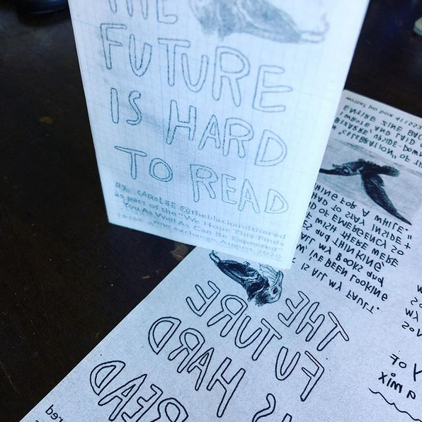 photo of folded zine standing on an unfolded zine. Black handwriting, type, and bird art on white vellu