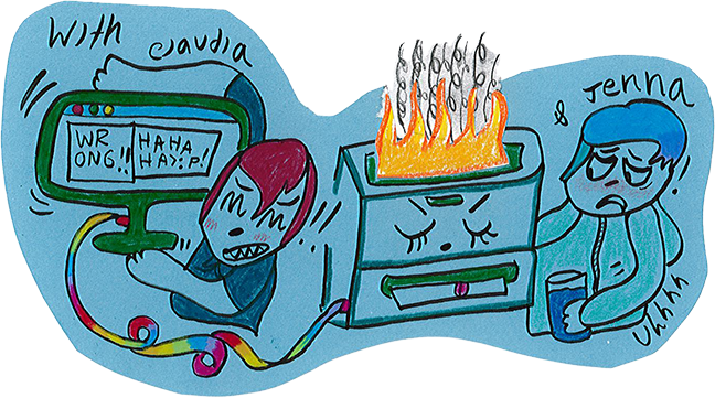 hand drawn illustration of Claudia and Jenna dealing with a hostile computer and a flaming photocopier