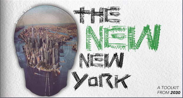 zine cover: photo of Manhattan Island in a skull outline, title in green and black