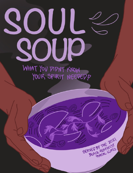 zine cover: brown hands holding a bowl of purple soup