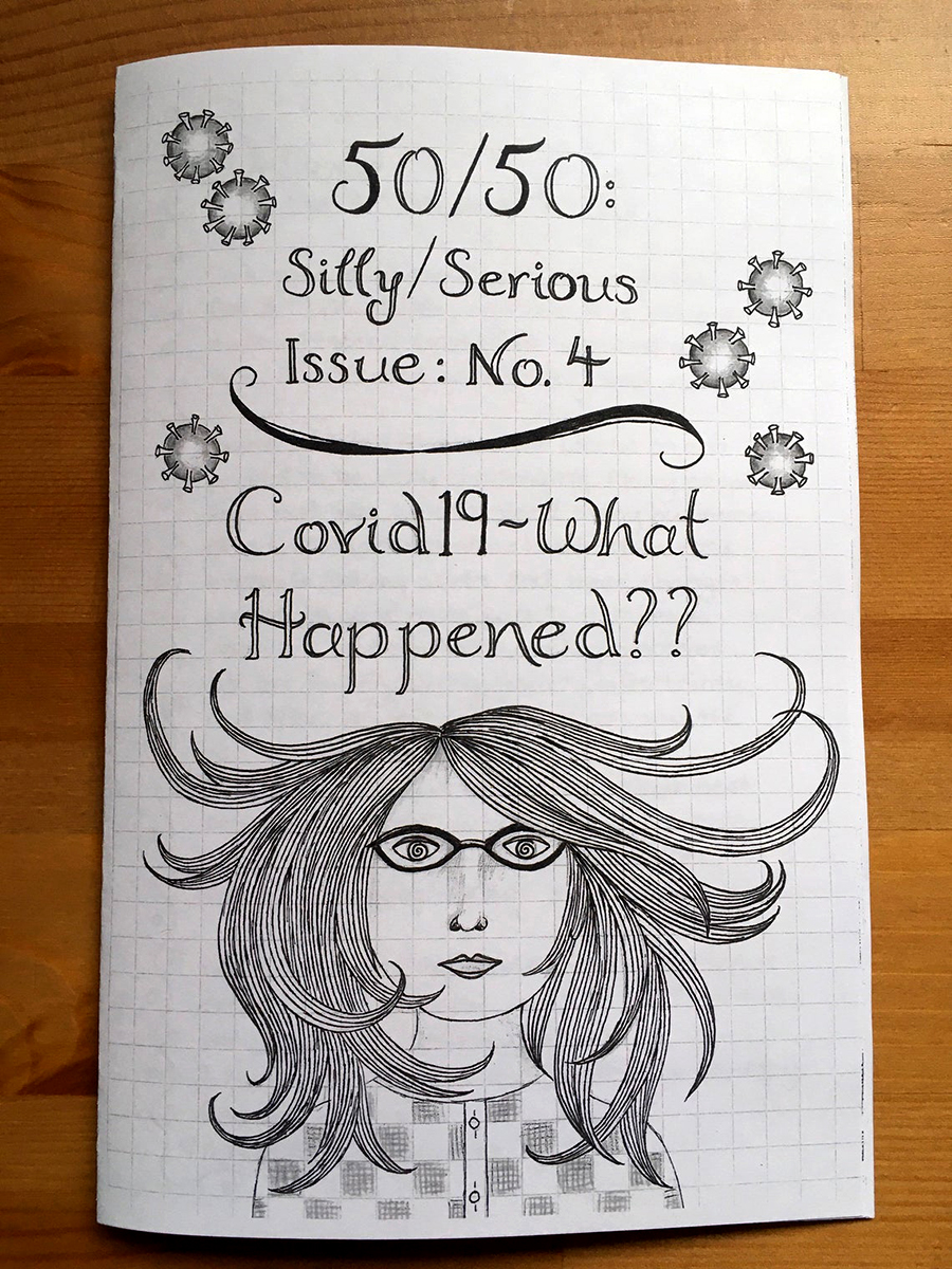 zine cover: drawing of person with hair blowing around