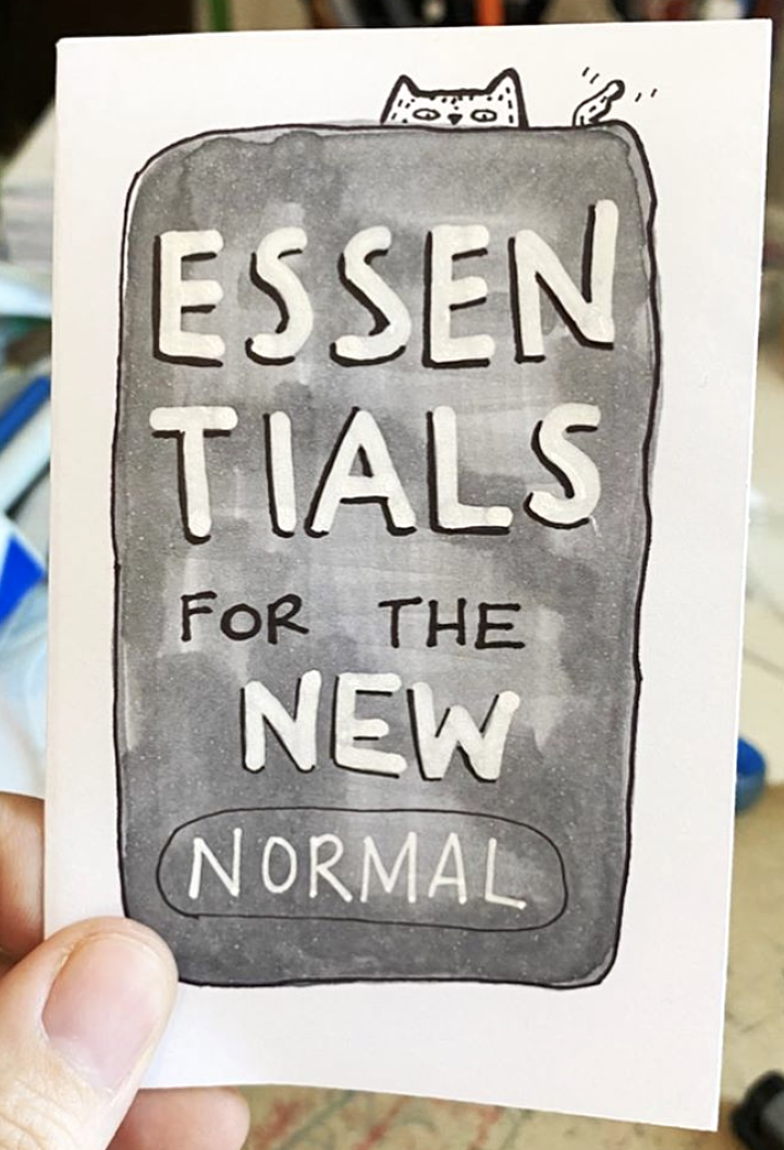 zine cover: Essentials for the New Normal. Text in a hand drawn banner.