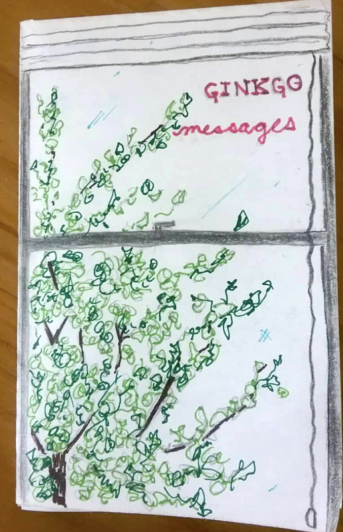 zine photo: handwritten title in gingko tree branch