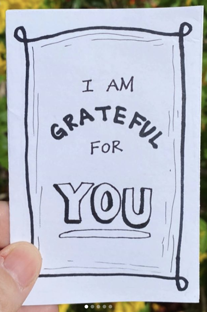 zine cover: I Am Grateful for You. Handwritten title.