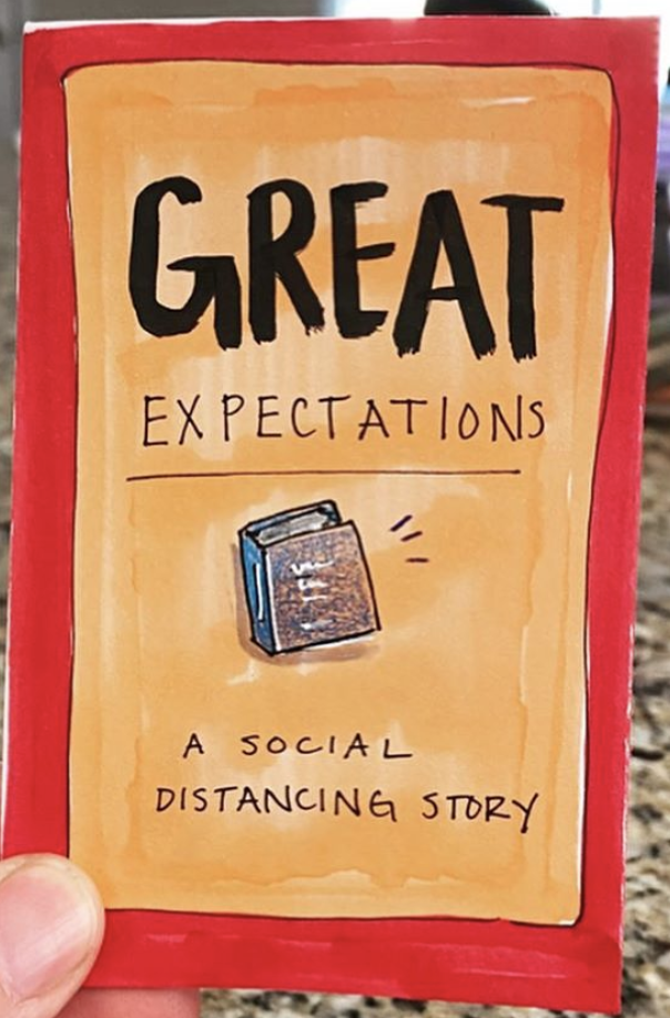zine cover: Great Expectations. Red frame, orange background, small book in the middle.