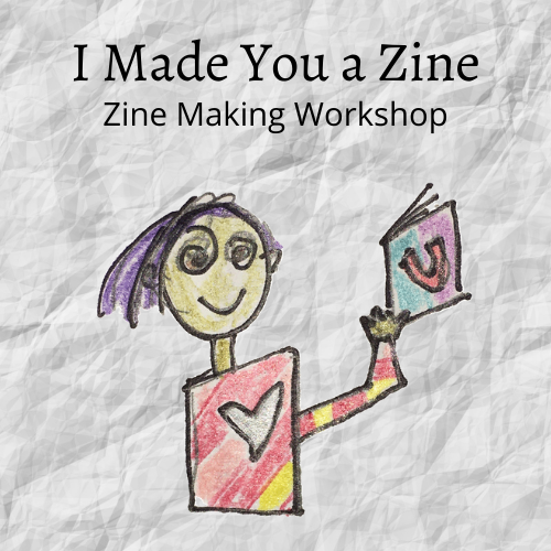 workshop graphic: stick figure holding a zine