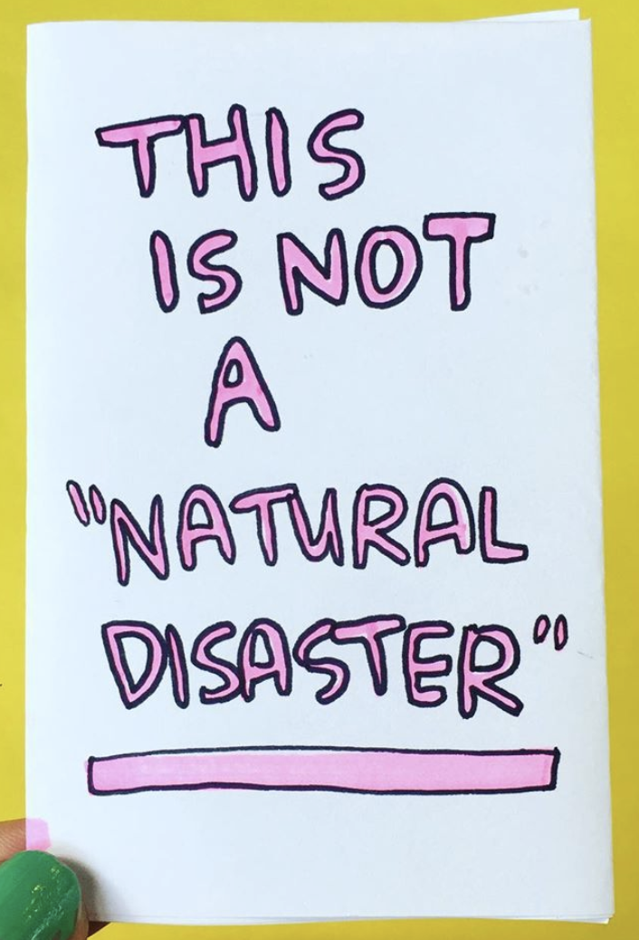 This Is Not a Natural Disaster title in pink all caps