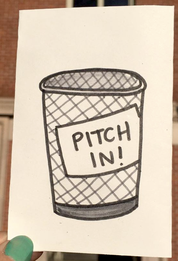 photo of zine: Pitch In title on a public trash can