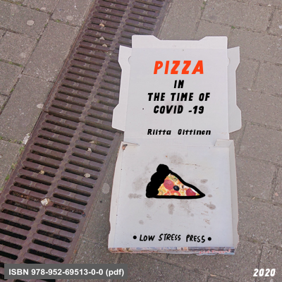 zine cover: photo of a pizza box lying in the street