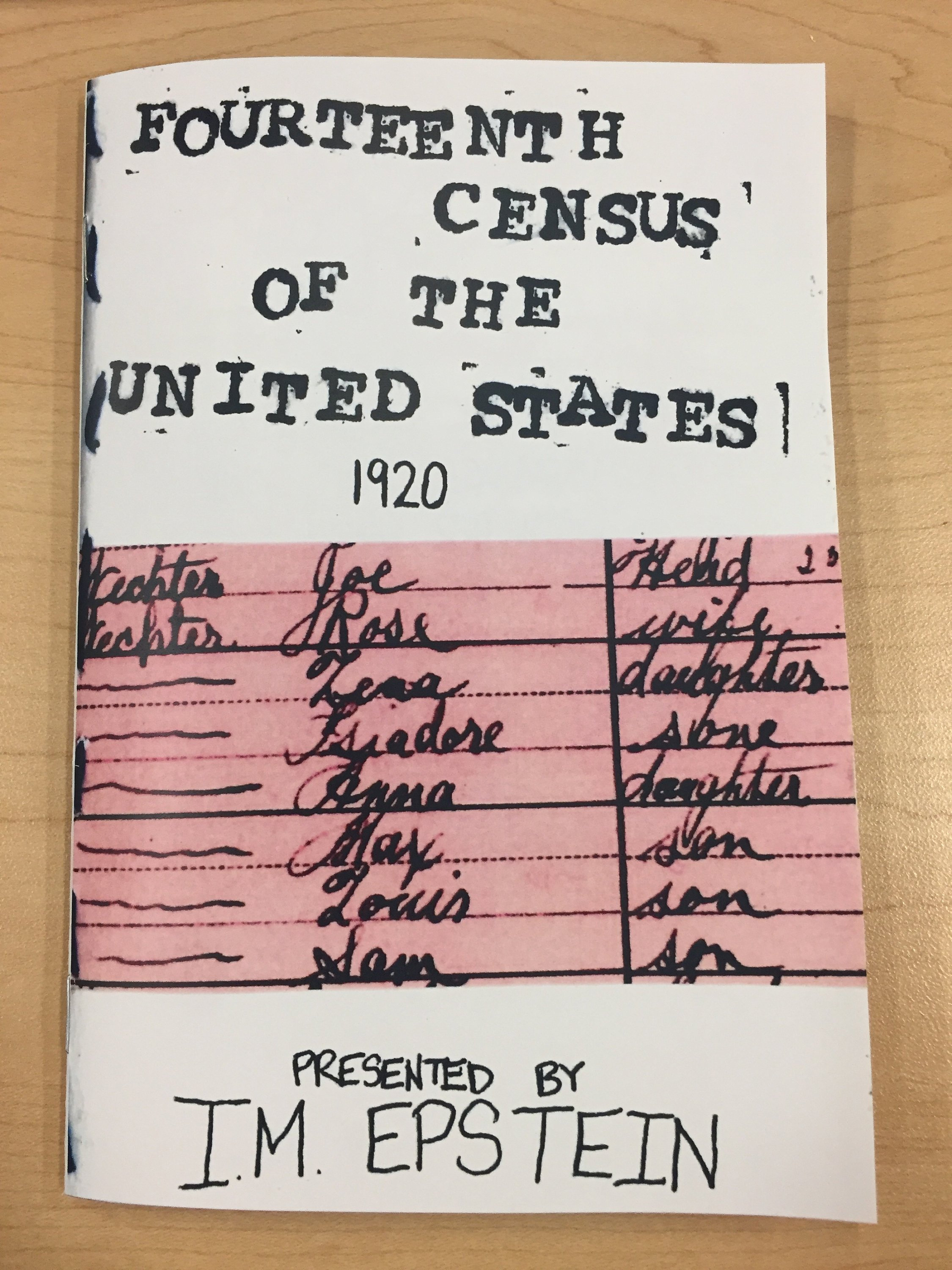 cover: Fourteenth Census of the United States 1920 zine