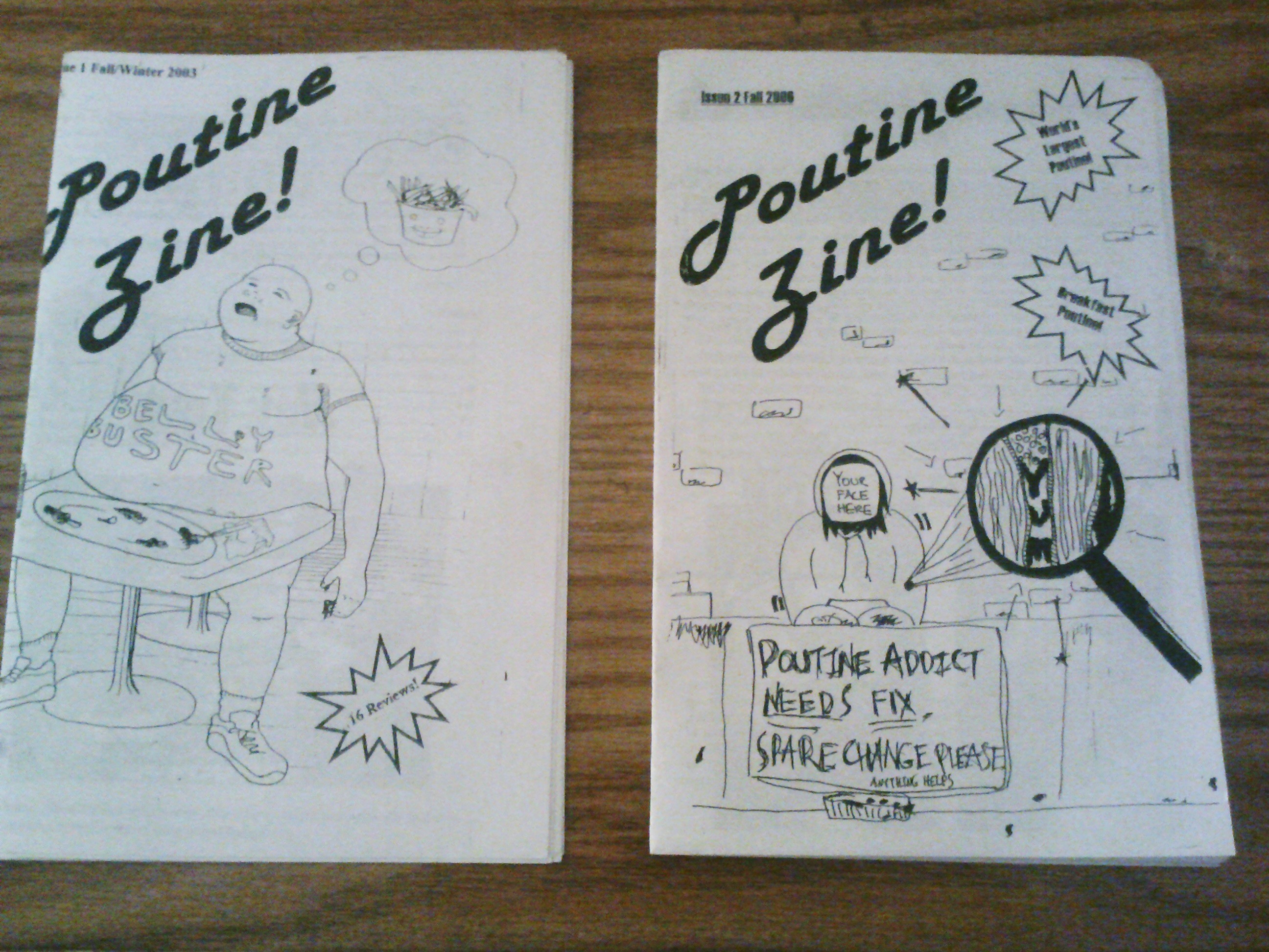 photo of Poutine zine, issues 1 & 2