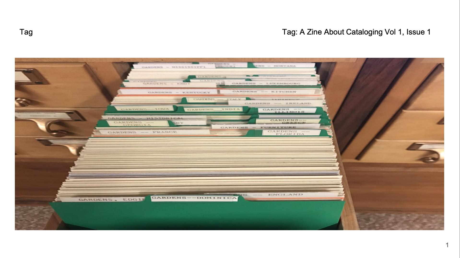 zine cover: A Zine About Cataloging