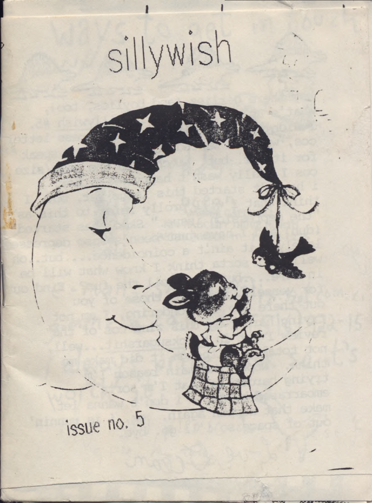 zine cover: Sillywish #5. Clip art crescent moon with a bird hanging from its top tip and a bunny hanging out on the bottom playing with the bird